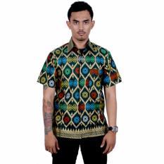 Batik Putri Ayu Solo Kemeja Batik Katun Prada Bali KPD18-Hitam