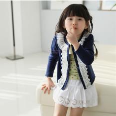 Bayi perempuan mantel rajutan dekorasi renda kancing jaket kardigan lengan panjang - Biru - International