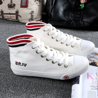 Beier wild with flat lace student female casual shoes high-top canvas shoes (Putih)