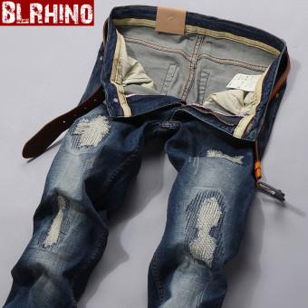 Beilexiniu Slim kecil lurus peregangan celana panjang celana jeans pria (089 biru Patch)
