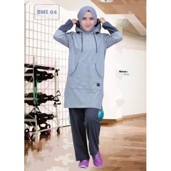 Believe Setelan BMS-04 Baju Olahraga Muslim Kaos Wanita Baju Muslim Kaos  Grey 2941dd3dcf