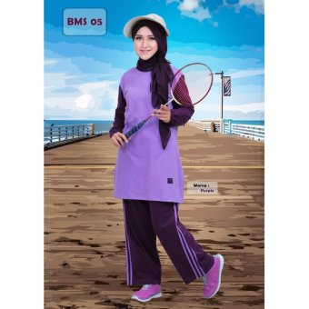 Believe Setelan BMS-05 Baju Olahraga Muslim Kaos Wanita Baju Muslim Kaos  Purple d2b18021c1
