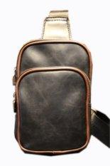 BigBang High Quality Men's Fashion Leather Small Backpack Chest Pack Daypack Sling Bag Shoulder Bag (Black)