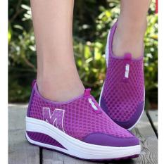 Bigcat fashion sneakers hollow mesh thick slope breathable shaking shoes -purple - intl