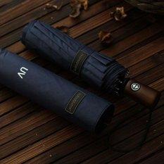 Blue 10 Ribs Fully Automatic Black Coating Pongee Men's Umbrella Folding Retro Wooden Windproof Umbrellas Rain