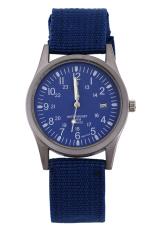 Blue Lans Unisex Calendar Army Blue Knitted Fabric Strap Watch