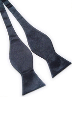Blue Lans Solid Plain Silk Self Tie Bow Tie Dark (Grey)