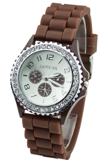 BlueLans Coffee Crystals Rubber Silicone Gel Jelly Strap Watch