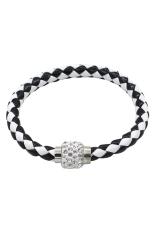 BlueLans Faux Leather Wrap Magnetic Rhinestone Buckle Wristband Black + White