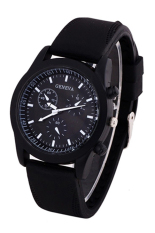 Bluelans Men's Black Rubber Band Watch