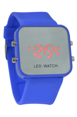 Blue Lans Unisex LED Mirror Dial Silicone Quartz Sports Wrist Watch Dark Blue