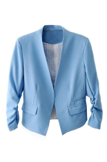 Bluelans Women's Fashion Korea Solid Slim Suit Blazer Coat Jacket Blue