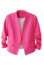Bluelans Women's Fashion Korea Solid Slim Suit Blazer Coat Jacket Rose-Red