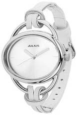 Blue Lans Women's Oval Slim Faux Leather Analog Quartz Watch White
