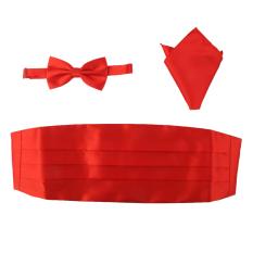 BolehDeals 3pcs Men's Satin Bow Tie Cummerbund Hanky Handkerchief Red