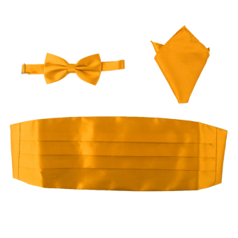 BolehDeals 3pcs Men's Satin Bow Tie Cummerbund Hanky Handkerchief Gold Yellow