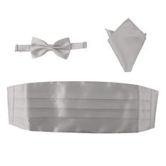 BolehDeals 3pcs Men's Satin Bow Tie Cummerbund Hanky Handkerchief Silver