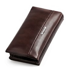 Bostanten Men's Genuine Cowhide Leather Classic Clutch Wallet Handbag Checkbook Wallet + A Free Leather Keychain (Brown)