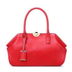 Bostanten Women's Cow Leather Top-Handle Handbag Clutch Bag Red