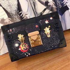 Brand Design 2017 Summer New Women's Handbag European Fashion Box Handbag Small Package Lock Shoulder Bag - Black - Intl