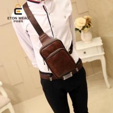 Brand Design Old School Waist Bag Men Small Chest Bag Korean Men's Handbag Cool Men Small Bag Leisure Leather Chest Bag Sling Bag -Coffee