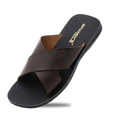BRANDYS Maxi Sandal Kulit Pria - Coklat Tua