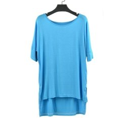 Brief Women's Girl Pure Round Collar Color Bat Sleeve Loose T-shirt 5 Colors ONE SIZE-light Blue- (EXPORT)