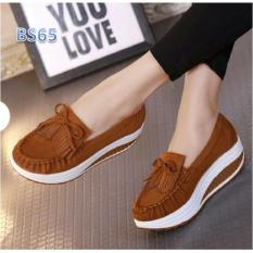 BS Sepatu Wedges Slip On Pony Coklat Tua