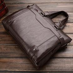 Business Men Shoulder Bag Messenger Bag Laptop Computer Oil Wax Cowhide Leather Briefcase Men's Tote Handbag (Big Size Coffee) - Intl
