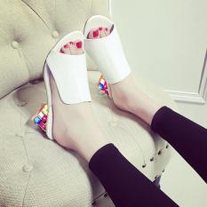 BUYINCOINS Sexy Peep-toe Summer New Fashion Women Shoes Thick With Diamond Crystal Sandals Slippers EU:40-White - intl