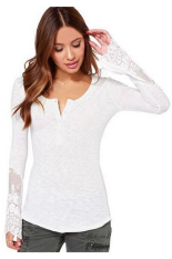 Buytra Womens T Shirt Lace Patchwork Long Sleeve White