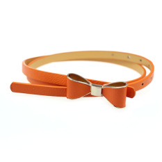 Candy Leather Women Skinny Butterfly Bow Waist Belt Waistband Orange