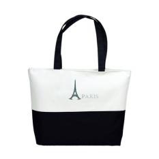 Canvas Eiffel Tower Pattern Girls Shopping Shoulder Bags Handbag Beach White / Black