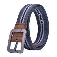 Canvas Strap Pin Buckle Men Belt (Gray) - INTL