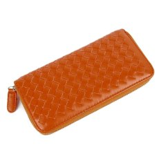 Card Coin Womens Lady Long Purse Zipper Clutch Synthetic Leather Weave Wallet (EXPORT)