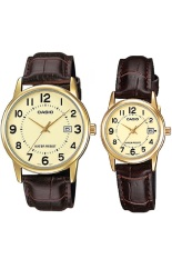 Casio Couple Watch Jam Tangan Couple - Cokelat Gold - Strap Genuine Leather Band - V002GL-9BUDF (Not Defined)