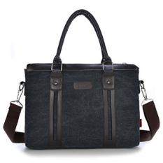 Casual Leather Canvas CrossBody Business Bag (Black)