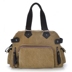 Casual Leather Canvas CrossBody Laptop Messenger Handbag Briefcase (Khaki)