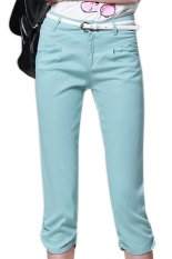 Casual Mid Waist Cotton Spandex Regular Womens Pants Light Blue