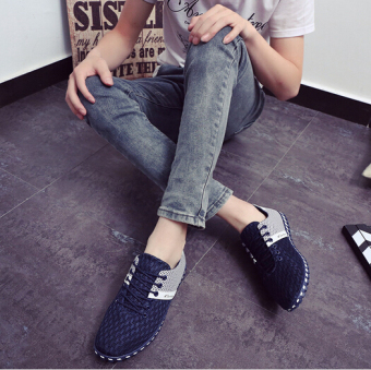 Casual Summer Fashion Sports Shoes Breathable Mesh Men (Dark Blue) .
