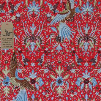 Cek Batik - Kain Batik Hitam Manis Motif Garuda Indonesia Favorit Presiden Jokowi (Merah Manis