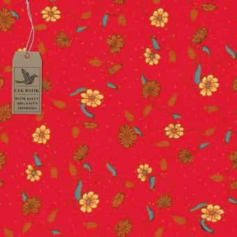 Cek Batik - Kain Batik Motif Manis Bunga dan Daun (Merah)