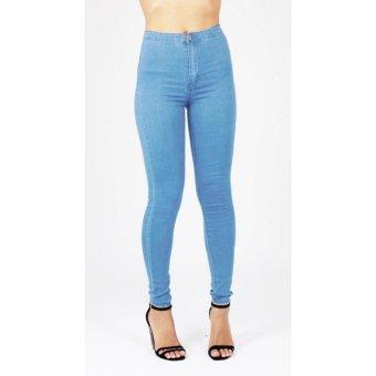 Celana jeans hight waist wanita - biru muda