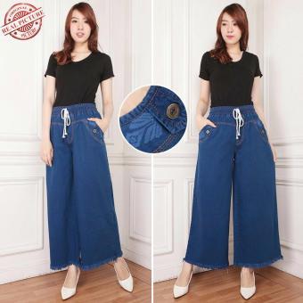 Celana jeans kulot panjang wanita jumbo long pant Cenny