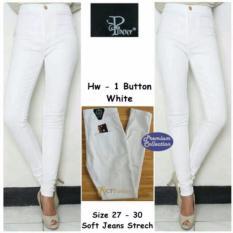 celana jeans wanita putih - hight waist