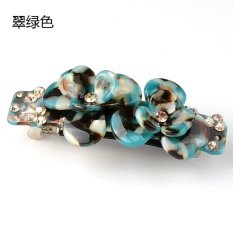 Charm Angel hairpin spring clip flower top folder diamond crossclip hair clip headdress ponytail clip hairpin jewelry (Emeraldgreen) - intl