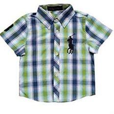 Chris & Elin Shop - KEPO06 - Kemeja Polo Kotak2 Green Bue Lgn pendek