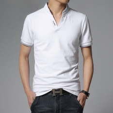 Classic Pure Color Men's New Fashion Slim Short-Sleeved POLO Shirt (White) -intl