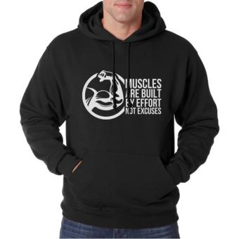 Clothing Online Hoodie Muscles Are Built - Hitam