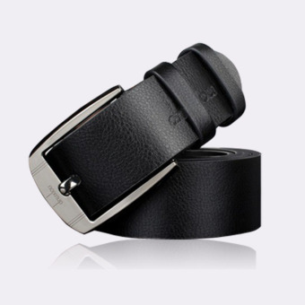 Coconie Men Metal Buckle Leather Waistband Vintage Classic Pin Buckle Belts Black